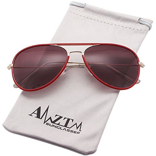 AMZTM Classic Retro Cat Eye Polarized Aviator Driving Sunglasses For Women and Men Metal Frame Ultra-fine Glasses Legs (Red, 58)
