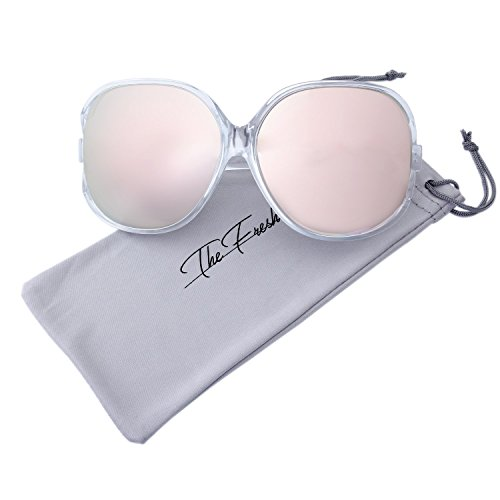 The Fresh New Women's Vintage Style XL Oversized Jackie O Shiny Crystal Frame Mirror Lens Sunglasses with Gift Box (9-Crystal, Pink - In Jackie O Sunglasses