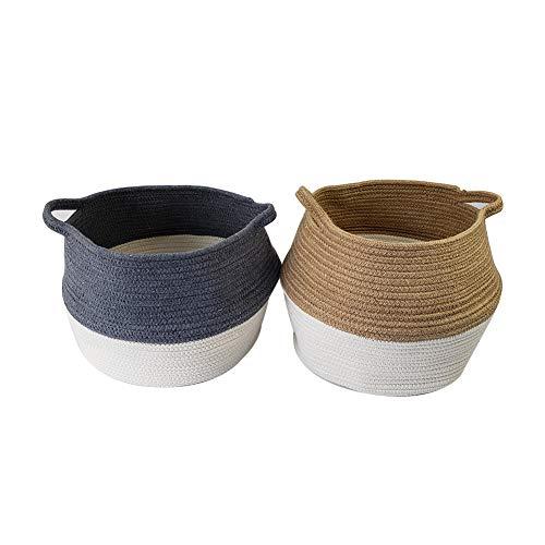 JOYEAR Natural Seagrass Folding Large Cloth Storage Basket Cotton Handles Lid, Foldable, Wood Grain Finish (Large, Style1-Grey&White)