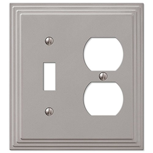 Step Design Toggle and Duplex Combination Wall Switch Plate Outlet Cover - Satin Nickel