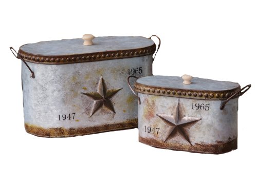 Your Heart's Delight Embossed Star Nested Canisters with Lid Set, 14-1/4 by 8 by 7-1/4-Inch, Set of 2 by Your Heart's Delight