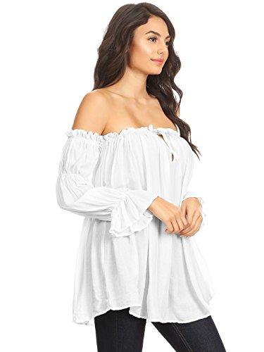 shirt L'épaule Manches Anna Peasant T Sheer Haut Weiß Sur Donna Boho kaci De Chemisier Semi Longues Le ww7C6Y