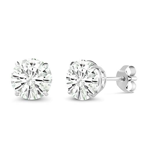 14K White Gold Stud Earrings Round Forever Classic 2.00ct (DEW) Created Moissanite by Charles & Colvard