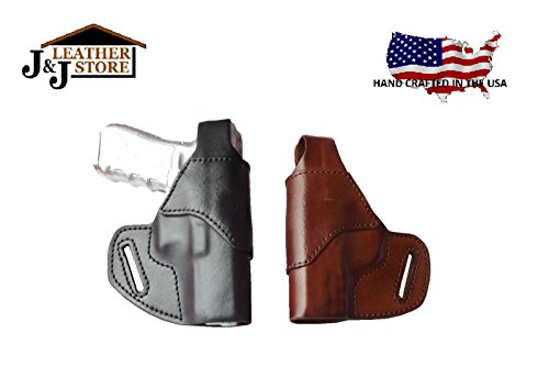 J&J Custom Fit S&W M&P Shield M2.0 9/40 W/Factory Integrated CT Laser OWB (Outside The Waistband) Belt Carry Formed Premium Leather Holster with Thumb Break (Brown, Right)