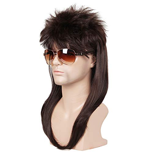ColorGround Long Straight Brown 80S Mullet Disco Cosplay Wigs for Men -