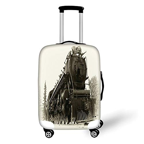 (Travel Luggage Cover Suitcase Protector,Steam Engine,Antique Northern Express Train Canada Railways Photo Freight Machine Print,Black Grey,for TravelM 23.6x31.8Inch)