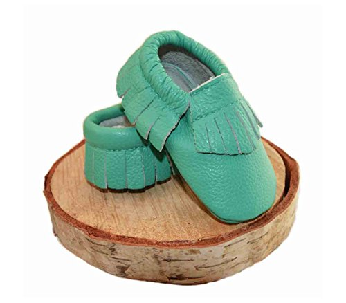 (Mali Wear Leather baby Moccasins, First Steps soft sole shoes -turquoise (sm 6-12))