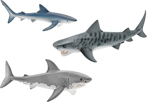 Schleich Shark Set - Tiger Shark, Great White Shark, and Blue (Schleich Sea Animals)