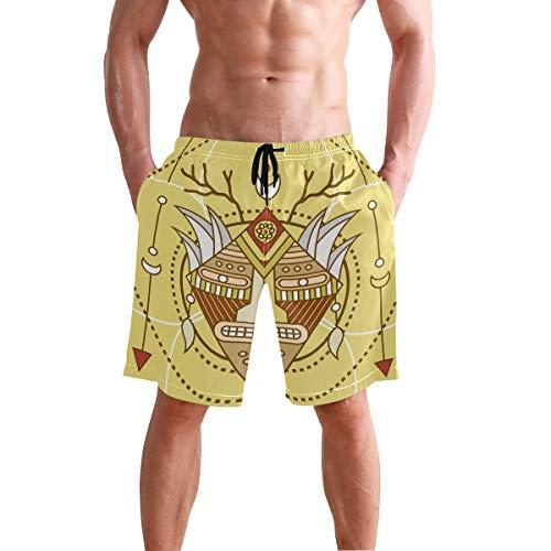 (DJROW Shaman Mask Print Men's Quick Dry Beach Shorts Swim Trunk Beachwear with Pockets)