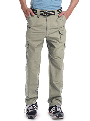 (OCHENTA Men's Lightweight Ripstop Tactical Pants, Outdoor Hiking Climbing Cargo Khaki 34)