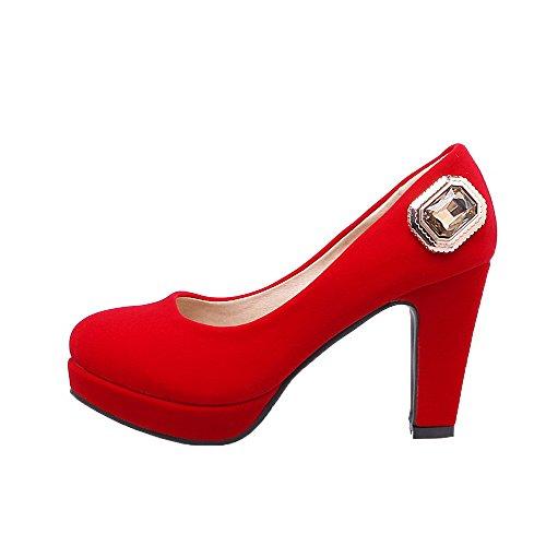 VogueZone009 Damen Hoher Absatz Mattglasbirne Rein Ziehen auf Rund Zehe Pumps Schuhe Rot