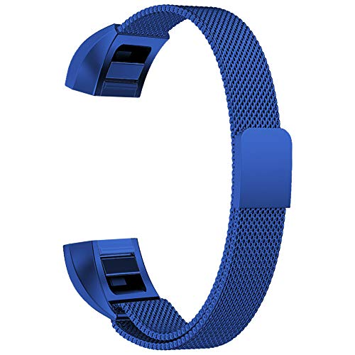 Oitom for Fitbit Alta HR Accessory Band and for Fitbit alta Band, (2 Size) Large 6.7-9.3 Small 5.1-6.7 (8 Color) Silver Black Rose Gold Pink Blue Brown Rainbow(Large 6.7-9.3 Blue)