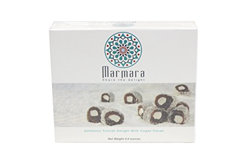 Marmara Authentic Nut Free Turkish Delight Lokum Candy / Sweet Confectionery Gourmet Gift Box Candy Dessert (Cogan with Chocolate Cacao, Medium)