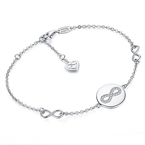 AmorAime 925 Sterling Silver Infinity Symbol Endless Love Cubic Zirconia Disc Bracelet Gifts for Women Girls by AmorAime (Image #1)