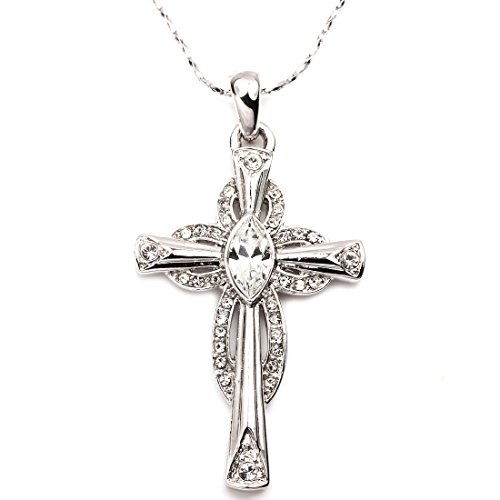 FC JORY Rose & Rhodium Plated Cubic Zirconia Cross Pendant Necklace Christian Religious Jewelry (Silver Small)