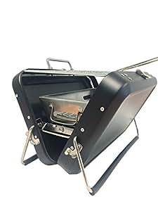 Chapuis BAPIN barbacoa portátil de carbón con asa de transporte acero inoxidable, 22x 31, 5x 7, 5cm–negro