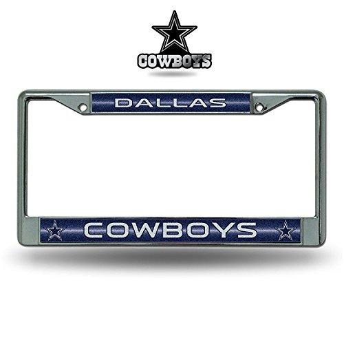 Rico NFL Dallas Cowboys Glitter Bling Chrome Plate Frame & Cowboys Molded Auto Emblem