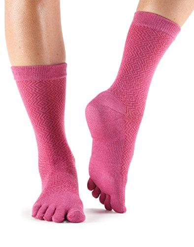 toesox Casual Crew Toe Socks (Ruby) Small