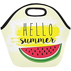 Insulated Neoprene Lunch Bag Summer Banner Template Design Hello Summer Large Size Reusable Thermal Thick Lunch Tote Bags For Lunch Boxes For Outdoors,work, Office, School