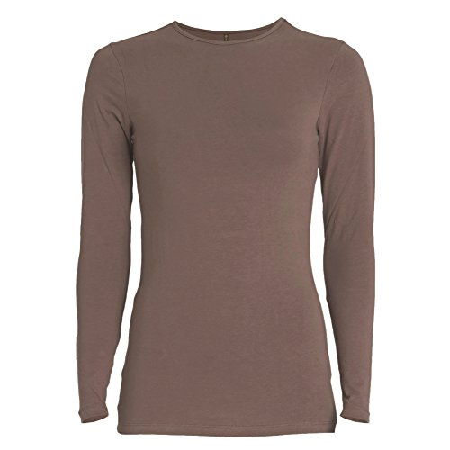Esteez Long Sleeve Base Layering T-Shirt for Women Relaxed FIT Brown Medium