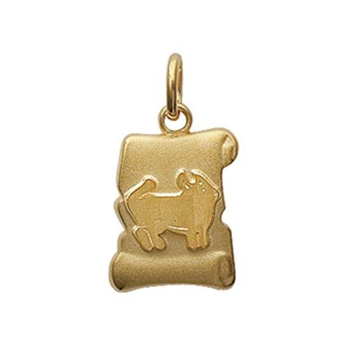 ISADY - Kela Gold Taureau - Pendentif - Plaqué Or 750/000 (18 carats) - Zodiaque - Horoscope - Gravure Offerte - Chaîne incluse - Longueur 45 cm