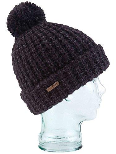 Coal Women's The Kate Waffle-Knit Beanie with Oversized Pom, Heather Black, One (Black Oversized Sombrero Hat)