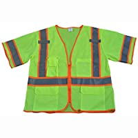 Petra Roc LVM3-CB1-4X/5X Safety Vest, ANSI Class 3, Lime Mesh Deluxe w/Orange Contrast Binding, Zipper Closure, 5 Pockets/2 Mic Tab,, 4X/5X