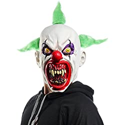 Halloween Horrific Demon Adult Scary Clown Masks Cosplay Props(Green Flame Clown)
