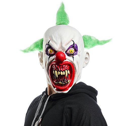 Mo Fang Gong She Halloween Horrific Demon Adult Scary Clown Masks Cosplay Props Green Flame Clown