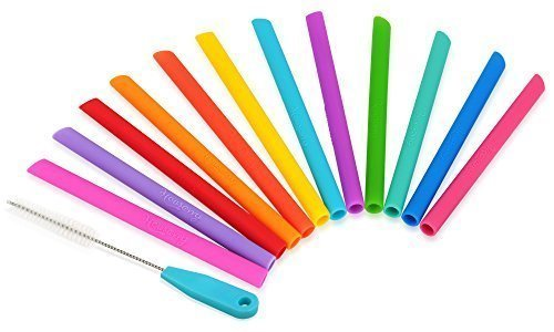 Housavvy Pack of 12, Kids Reusable Silicone Straws Colorful with Cleaning Brush