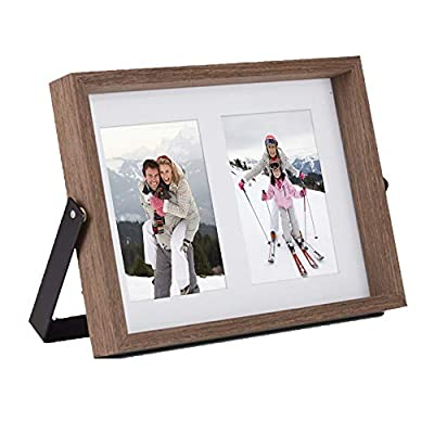 VonHaus 4x6 Tabletop Decorative Picture Frame Fits 2X Photos Walnut Brown Wooden Standing and Leaning Photograph Frame with Iron Bracket - Personalized Gift for Friends and Family - ADAPTABLE POSITIONING - frame can comfortably lean back or be pushed directly above the sturdy bracket for multiple display purposes RUSTIC STYLE - its dark brown, walnut-look wood finish with black iron brackets give the frame an on-trend industrial look RESILIENT MATERIALS - iron bracket is rust resistant and frame is crafted from solid MDF to ensure durability - picture-frames, bedroom-decor, bedroom - 41yH5R2tY2L. SS400  -