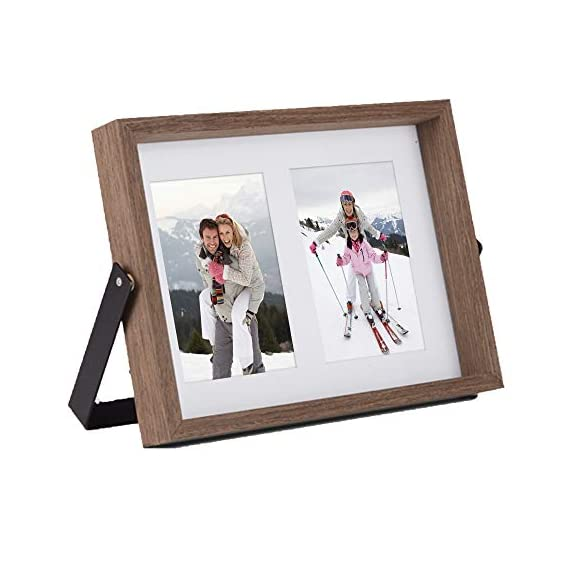 VonHaus 4x6 Tabletop Decorative Picture Frame Fits 2X Photos Walnut Brown Wooden Standing and Leaning Photograph Frame with Iron Bracket - Personalized Gift for Friends and Family - ADAPTABLE POSITIONING – frame can comfortably lean back or be pushed directly above the sturdy bracket for multiple display purposes RUSTIC STYLE – its dark brown, walnut-look wood finish with black iron brackets give the frame an on-trend industrial look RESILIENT MATERIALS – iron bracket is rust resistant and frame is crafted from solid MDF to ensure durability - picture-frames, bedroom-decor, bedroom - 41yH5R2tY2L. SS570  -