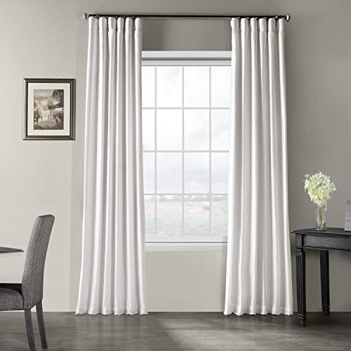 Half Price Drapes PDCH-KBS1-120 Vintage Textured Faux Dupioni Silk Curtain, 50 x 120, Ice ()
