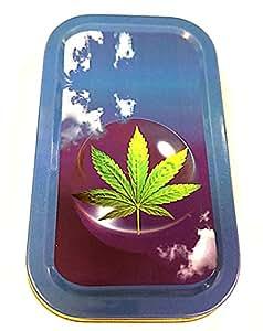 "1oz ""Sky diseño de hojas de tabaco/Bolsillo/Lata De Stash + 2Mascotte verde estándar folletos Combo se vende por Trendz"