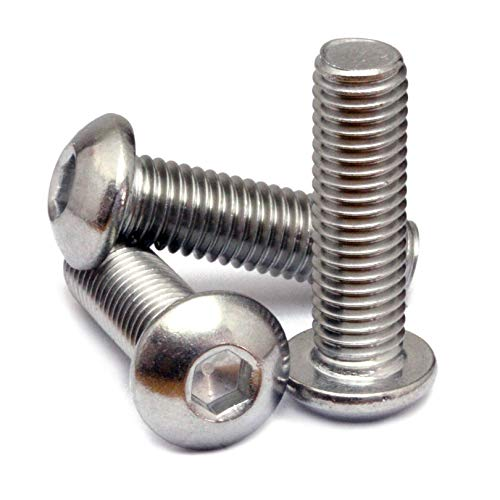 (10) M6 x 16mm - Metric Coarse Thread, Stainless Steel Button Head Socket Cap Screws, A2 (18-8), ISO 7380 / DIN 9427, Hex (Allen) Key Drive - MonsterBolts (10, M6-1.00 x 16mm) ()