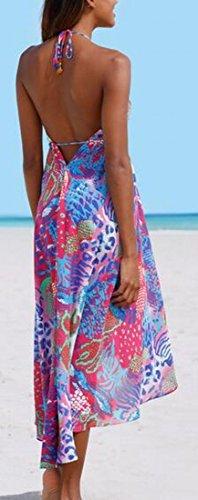Jaycargogo Des Femmes De Bohême Dos Nu Dos Nu V-cou Floral Robe Imprimée Comme Image