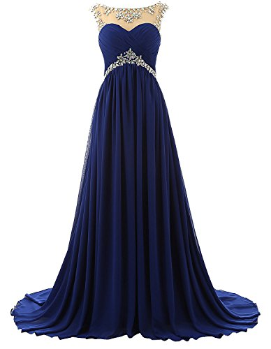 Vivebridal Beaded Straps Bridesmaid Prom Dress Sparkling Embellished Evening Gown Royal Blue US20w Embellished Prom Gowns