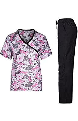 MedPro Women's Medical Scrub Set with Printed Wrap Top and Cargo Pants