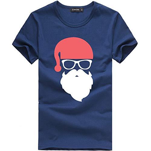 Willow S ☪✯ღ☪Men's Lovely Christmas Older Printing Tees Shirt Short Sleeve O-Neck T Shirt Blouse Dark Blue ()