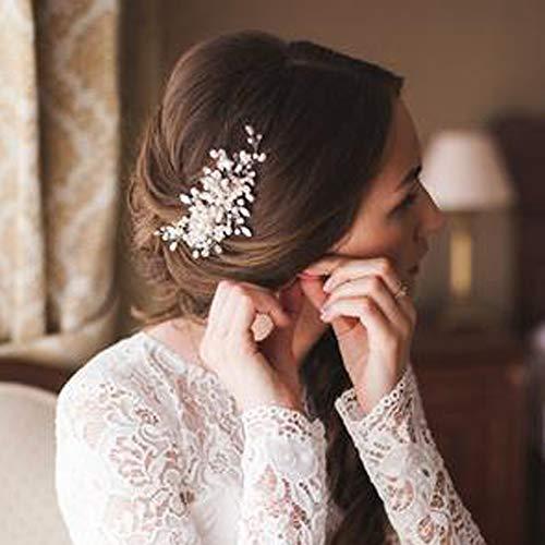 Deniferymakeup Bridal Pearl Hair Comb Wedding Hair Comb Ivory Headpiece Delicate Pearl Hair Piece Crystal and Pearl Bridal Hair Comb Wedding Accessory Rhinestone Hair Piece (Silver) (Hair Piece Wedding)