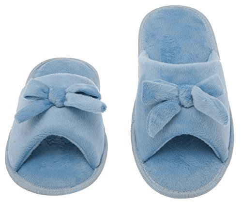 Womens Butterfly Bow Slip-On Memory Foam House Slippers, Size 9-10 - Open Toe - Pamper Your Feet With Cozy Fleece Memory Foam - Durable Non-Marking Ruber Sole - Womens Slippers, Baby Blue ()