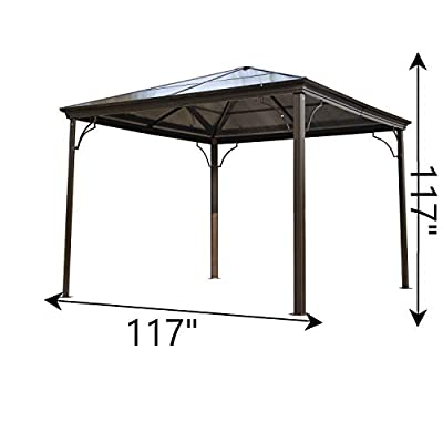 Outsunny 10' x 10' Steel and Polycarbonate Hardtop Gazebo Canopy Cover with Mesh Net Curtains