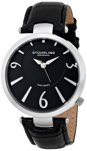 Stuhrling Original Men's 151.02 Symphony Surmount Analog Display Swiss Quartz Black Watch