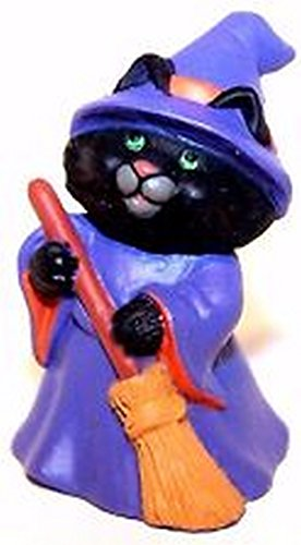 HMK Black Cat Witch 1991 Halloween Merry Miniature by Hallmark -