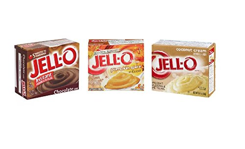 (Seasonal Holiday Pudding and Pie Filling Bundle: Jell-O Instant Pumpkin Spice, Coconut Cream, and Chocolate Pudding)