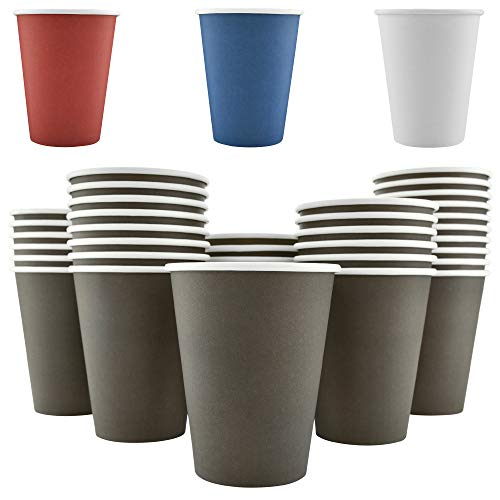 200 Pack - 12 Oz [8, 16] [4 Colors] Disposable Hot Paper Coffee Cups - Mocha Brown (Cups Only)