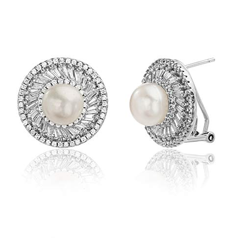 INSPIRED BY YOU. Baguette and Round Shaped Prong Set Freshwater Cultured Pearl and Cubic Zirconia Ballerina Stud Halo Earrings for Women with Omega Back in Rhodium Plated Sterling Silver