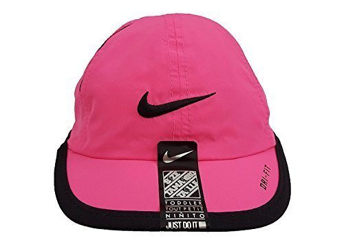 NIKE Featherlight Dri-Fit Just Do It Toddlers Baseball Hat Sun Protection Cap (Pink Pow/Black)