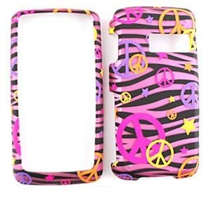 (PEACE SIGN PINK/BLACK ZEBRA PRINT CELL PHONE COVER FACEPLATE CASE FOR LG RUMOR TOUCH )