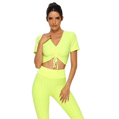 ANJUNIE Women's Crop Top,Casual V-Neck Short Sleeve Dance Yoga Fitness Drawstring Slim Shirt(Yellow,S)